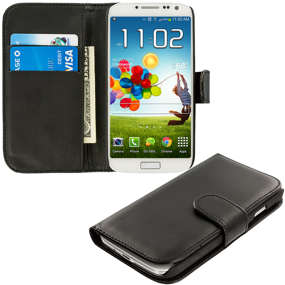 Samsung Galaxy S4 Black Leather Wallet Pouch Case Cover with Slots