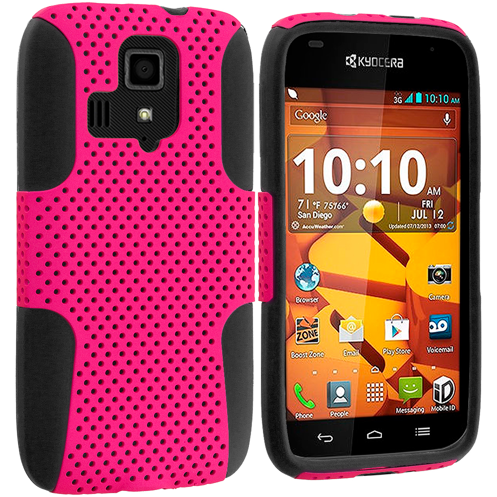 Kyocera Hydro Icon / Hydro Life Black / Hot Pink Hybrid Mesh Hard/Soft Case Cover
