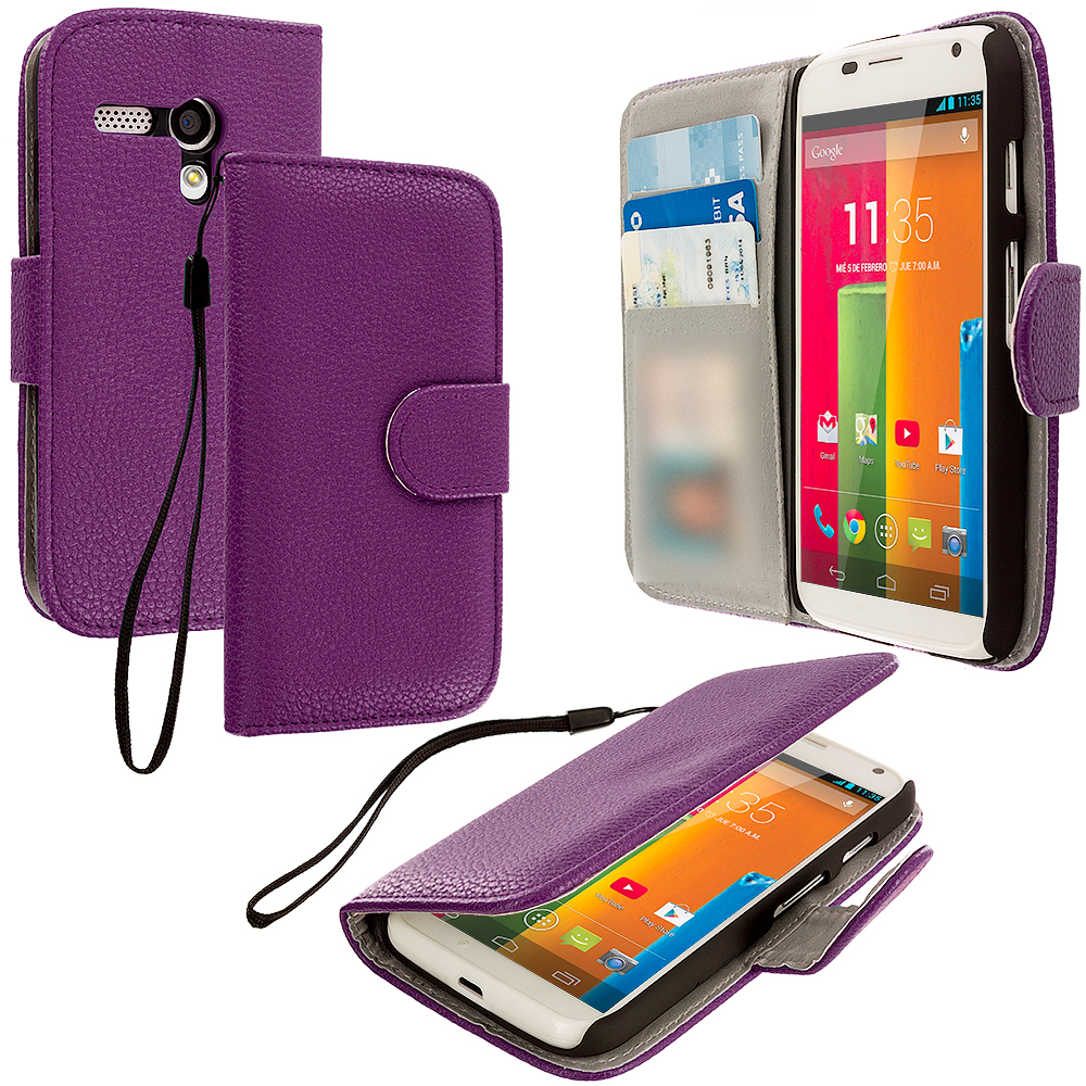 Motorola Moto G Purple Leather Wallet Pouch Case Cover with Slots
