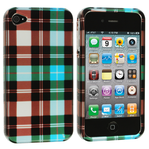 Apple iPhone 4 Blue Checkered Design Crystal Hard Case Cover