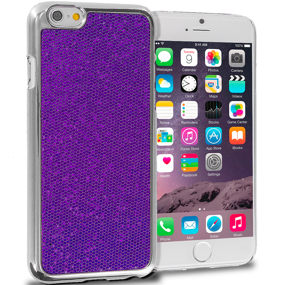 Apple iPhone 6 Plus 6S Plus (5.5) Purple Metal Glitter Case Cover