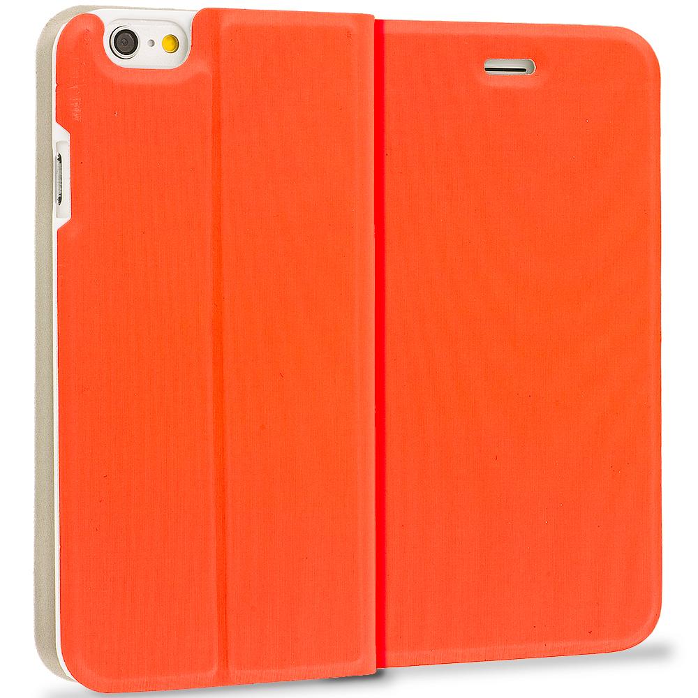 Apple iPhone 6 Orange Slim Flip Wallet Case Cover
