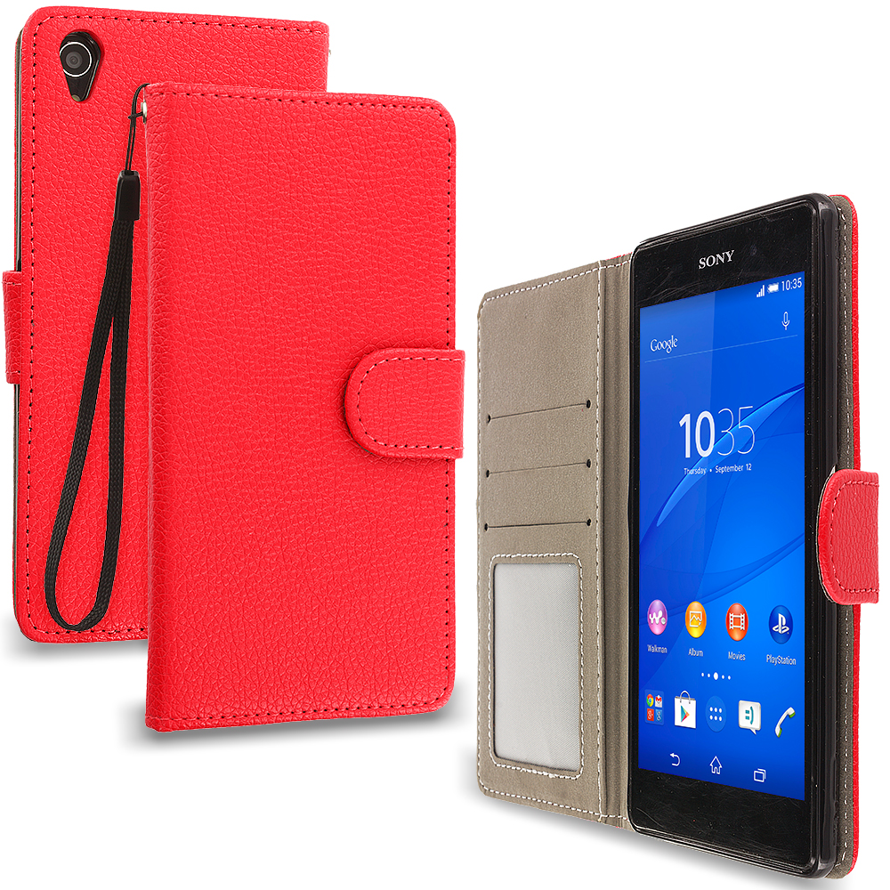 Sony Xperia Z3 Red Leather Wallet Pouch Case Cover with Slots