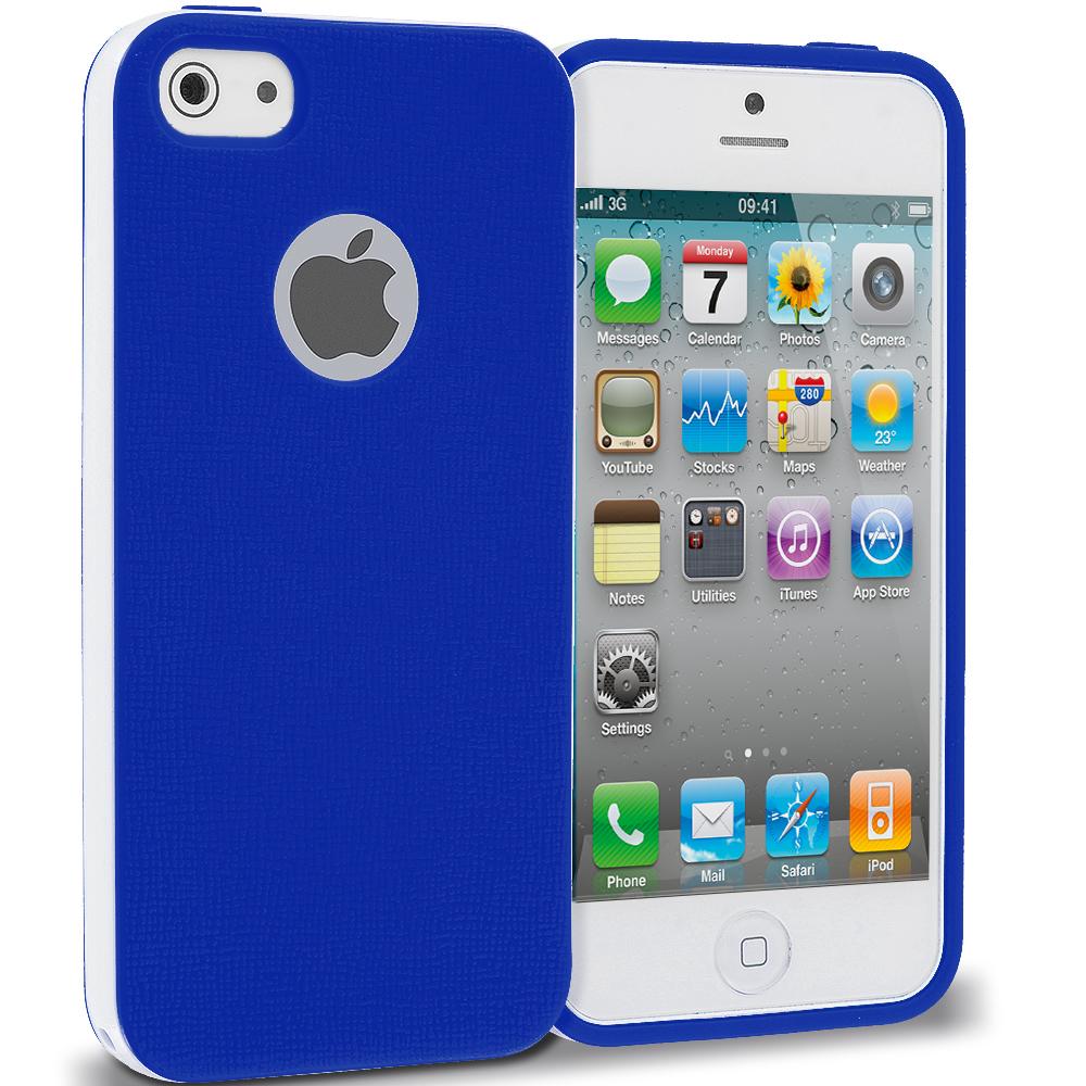 Apple iPhone 4 / 4S Blue Hybrid TPU Bumper Case Cover