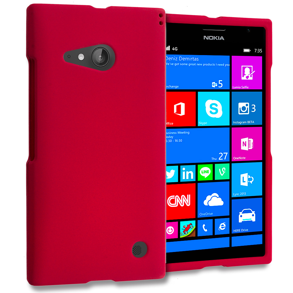 Nokia Lumia 730 735 Red Hard Rubberized Case Cover