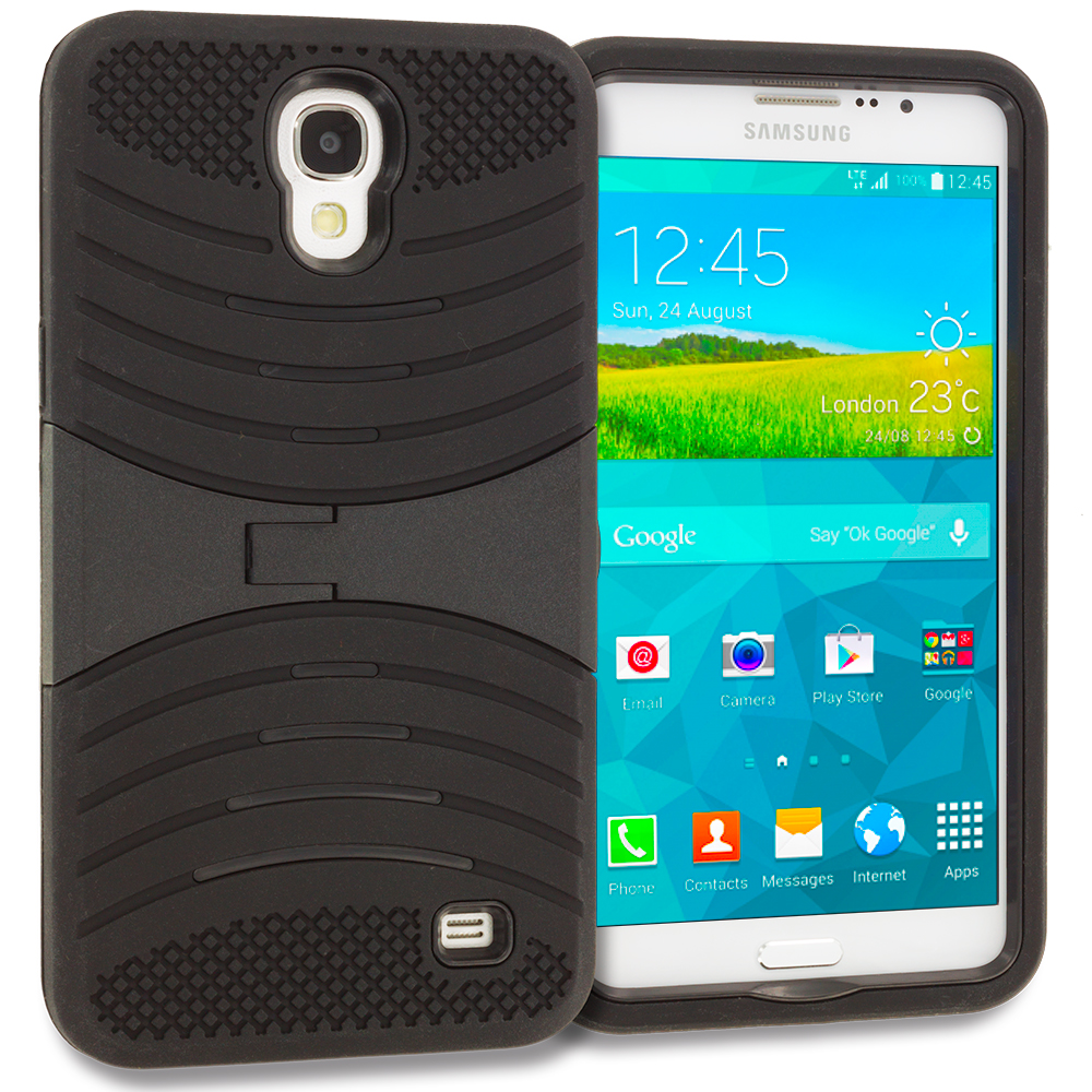 Samsung Galaxy Mega 2 Black / Black Hybrid Heavy Duty Shockproof Case Cover with Stand