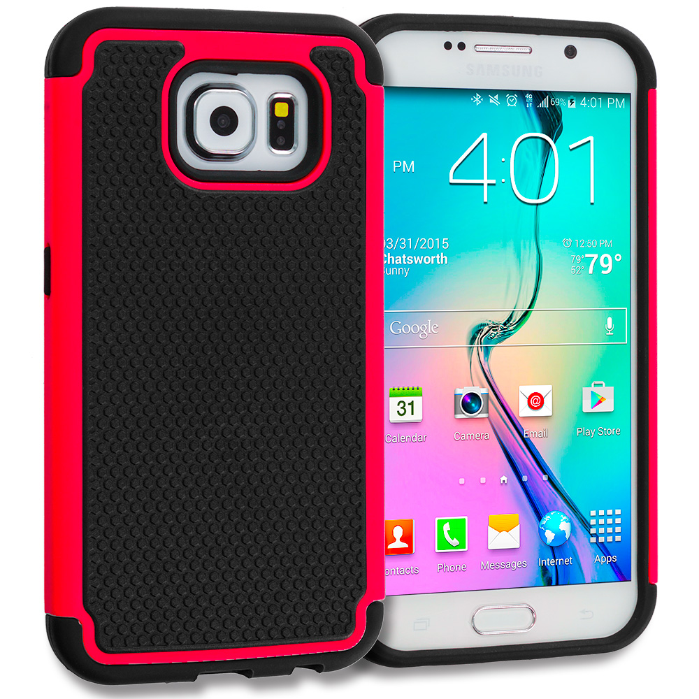 Samsung Galaxy S6 Combo Pack : Black / Red Hybrid Rugged Grip Shockproof Case Cover : Color Black / Red