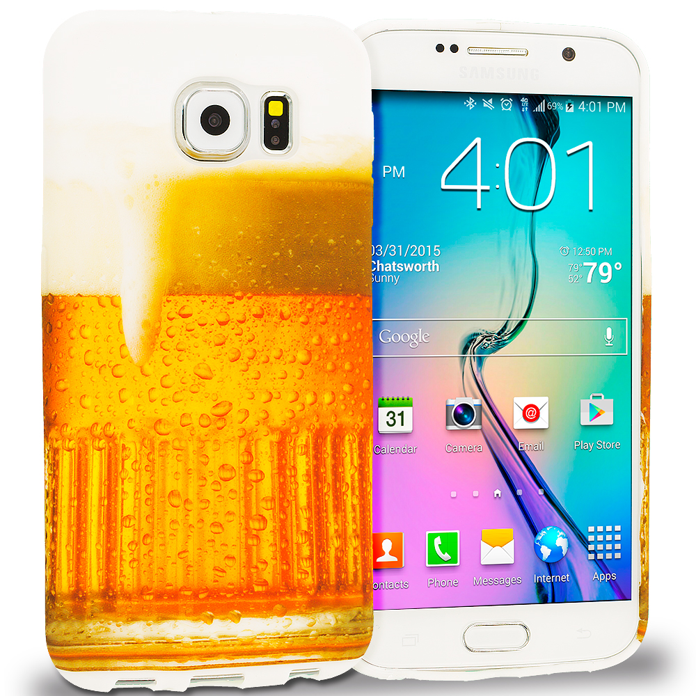 Samsung Galaxy S6 Combo Pack : Poker TPU Design Soft Rubber Case Cover : Color Beer