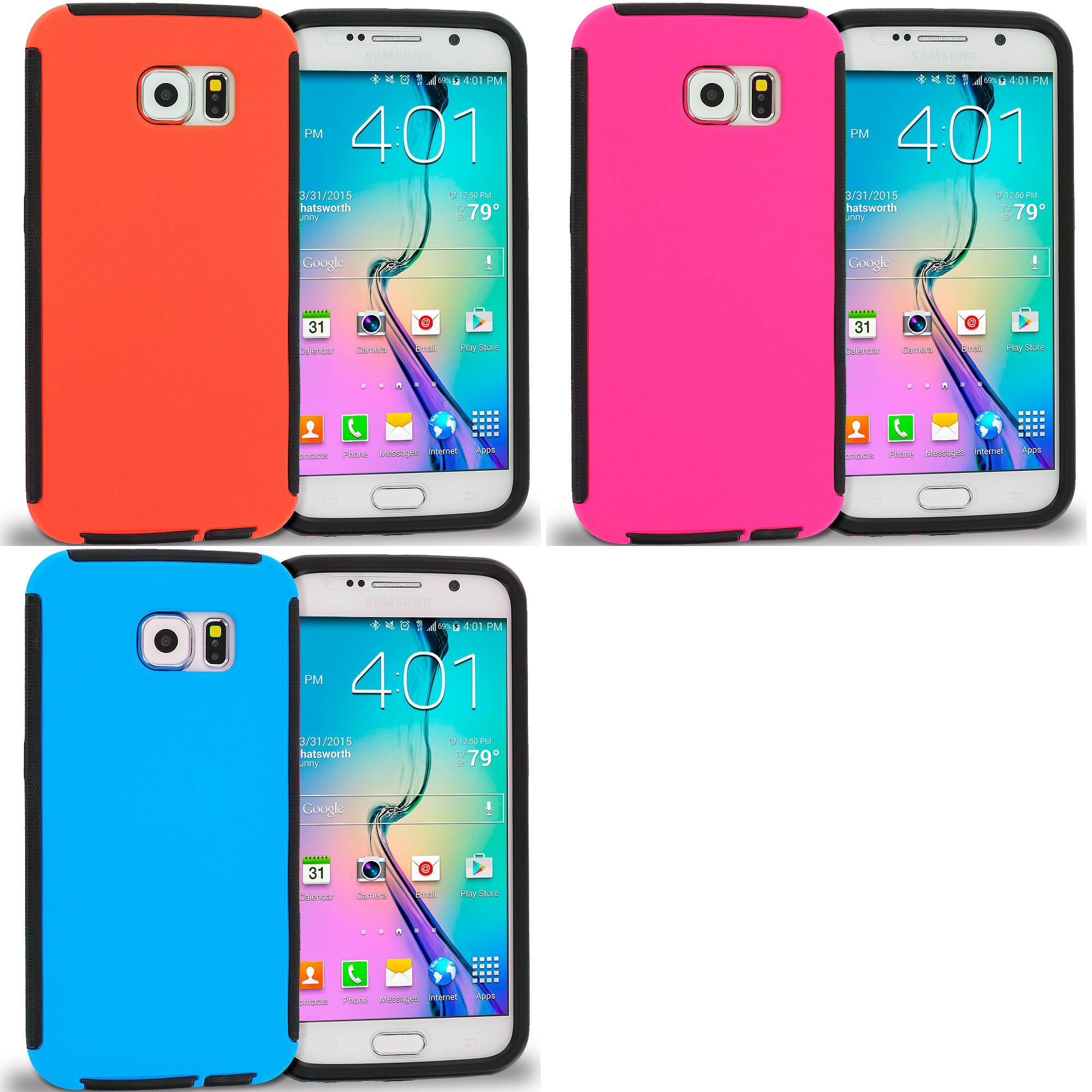 Samsung Galaxy S6 Combo Pack : Black / Orange Hybrid Hard TPU Shockproof Case Cover With Built in Screen Protector