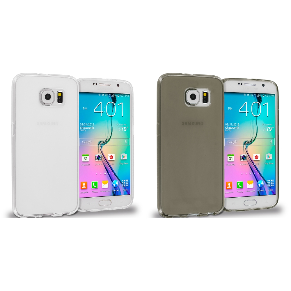 Samsung Galaxy S6 Combo Pack : Clear Plain TPU Rubber Skin Case Cover