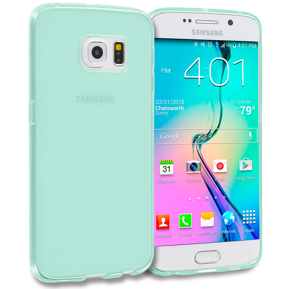 Samsung Galaxy S6 Edge Mint Green Plain TPU Rubber Skin Case Cover