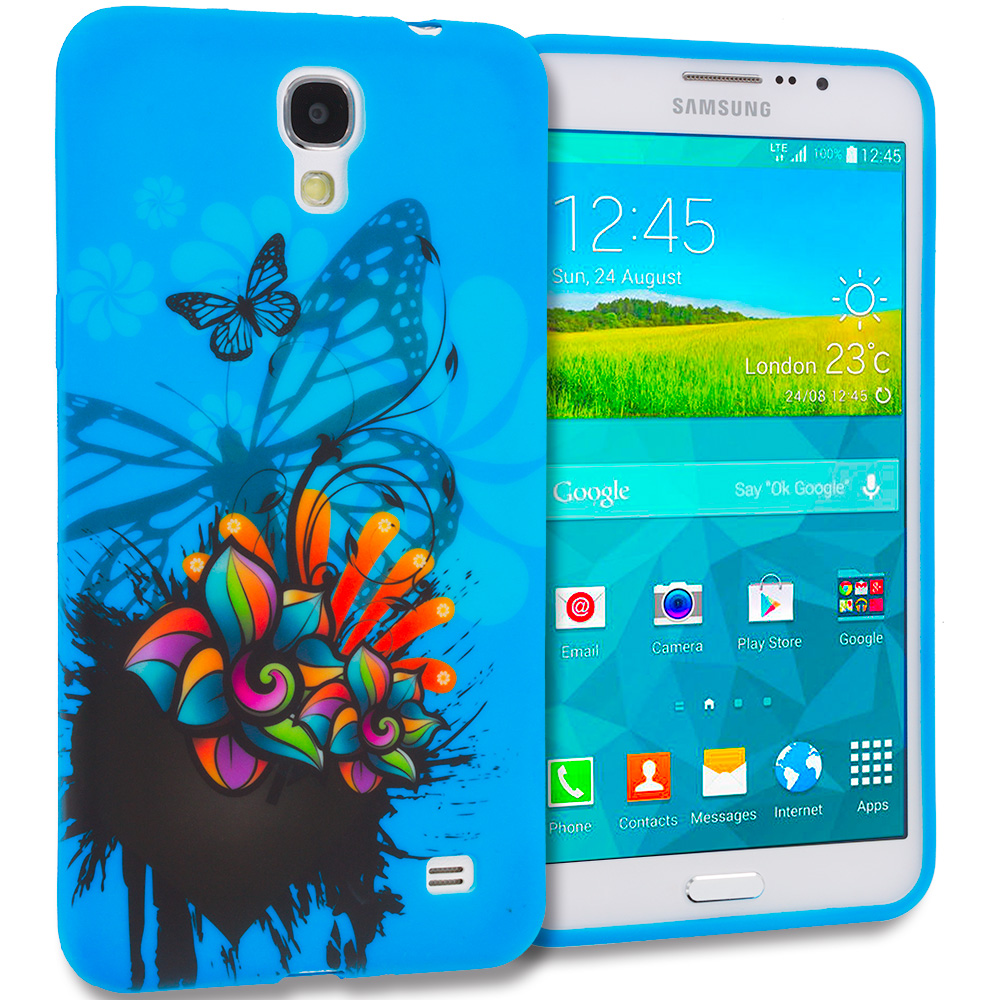 Samsung Galaxy Mega 2 Blue Butterfly Flower TPU Design Soft Rubber Case Cover