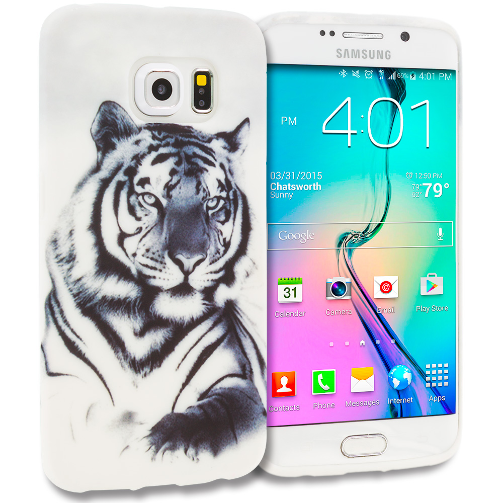 Samsung Galaxy S6 Edge Tiger TPU Design Soft Rubber Case Cover