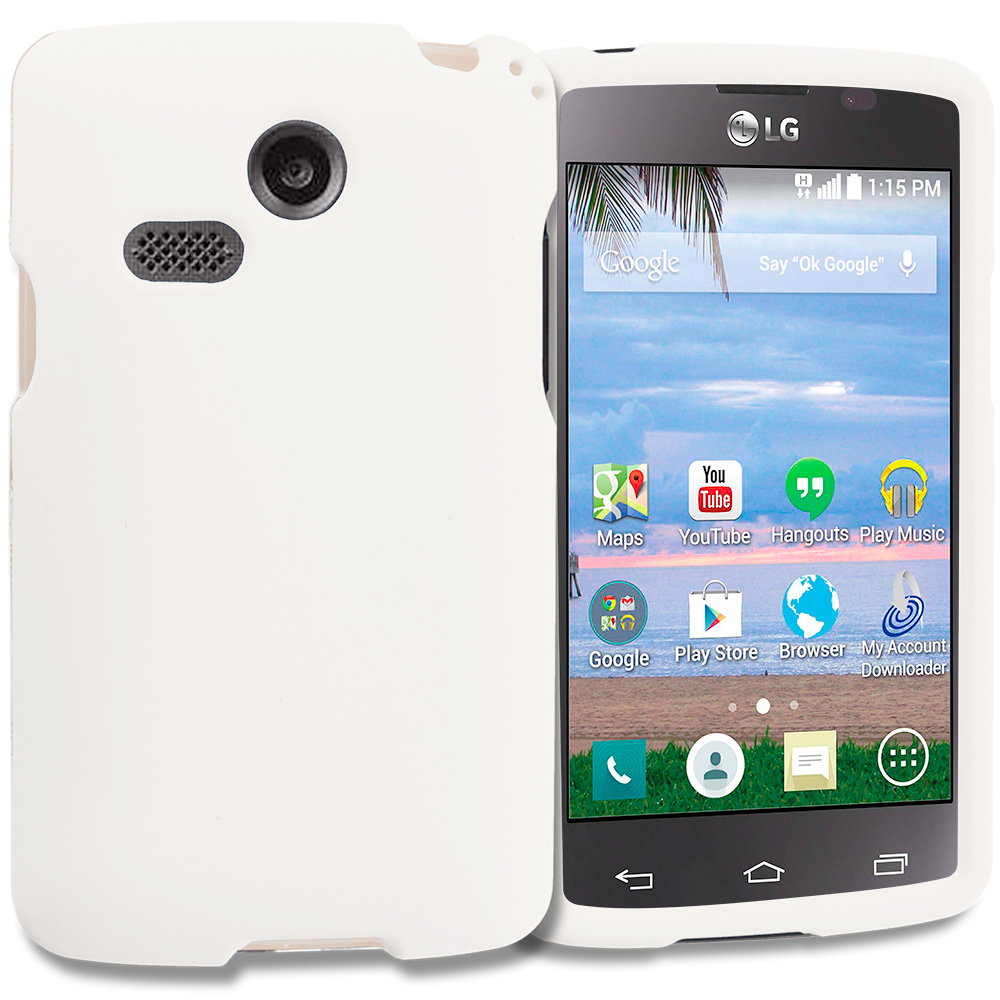 LG Sunrise Lucky L15G L16C White Hard Rubberized Case Cover