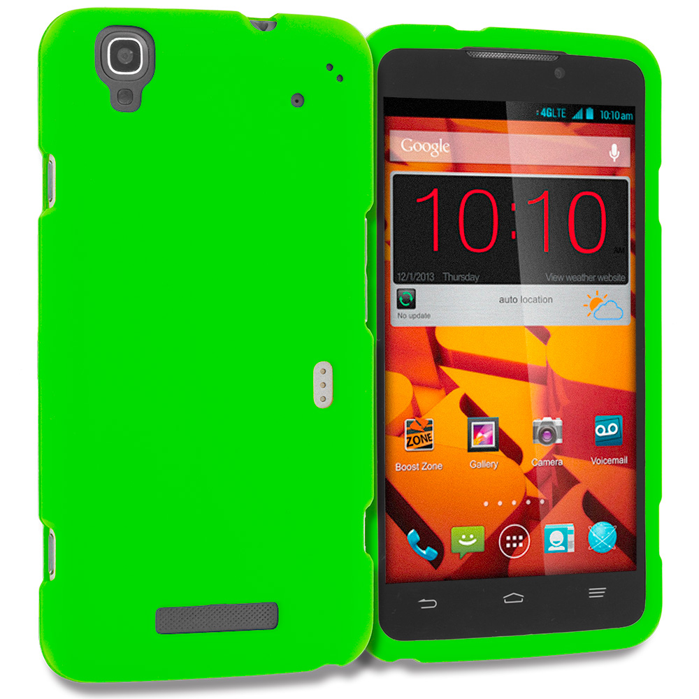 ZTE Boost Max Max Plus + N9521 Neon Green Hard Rubberized Case Cover