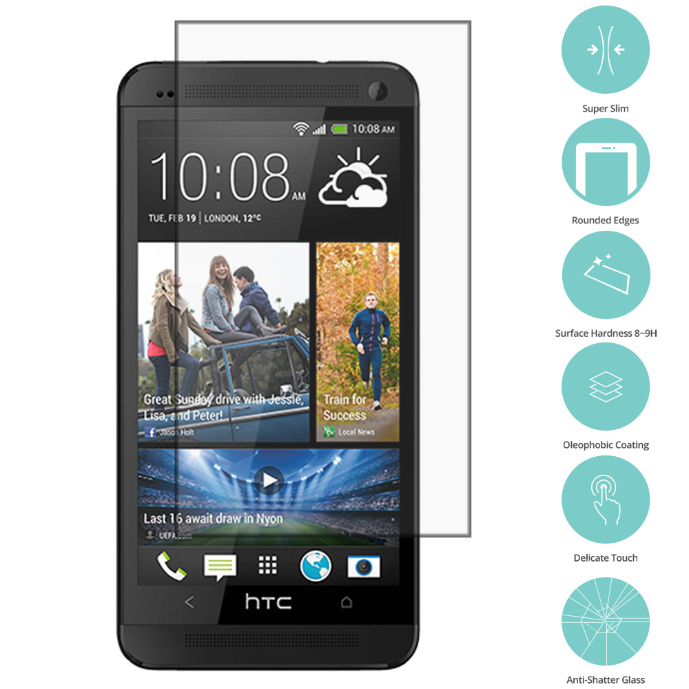 HTC One M7 Clear Tempered Glass Film Screen Protector Clear