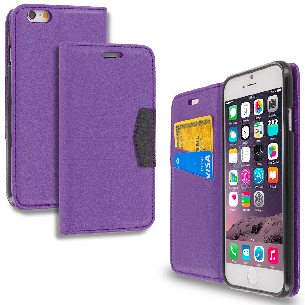Apple iPhone 6 Plus 6S Plus (5.5) Purple Wallet Flip Leather Pouch Case Cover with ID Card Slots
