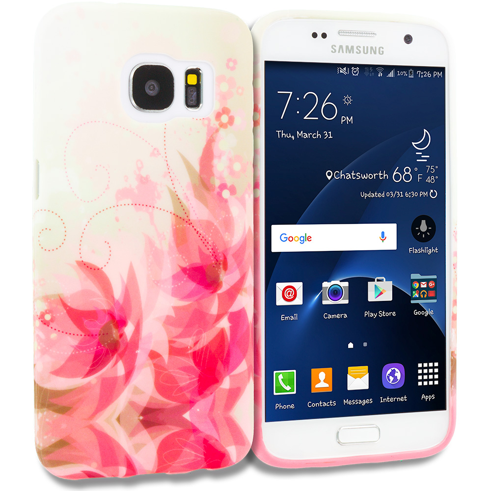 Samsung Galaxy S7 Combo Pack : Corner Pink Flower TPU Design Soft Rubber Case Cover : Color Flower with Red Leaf
