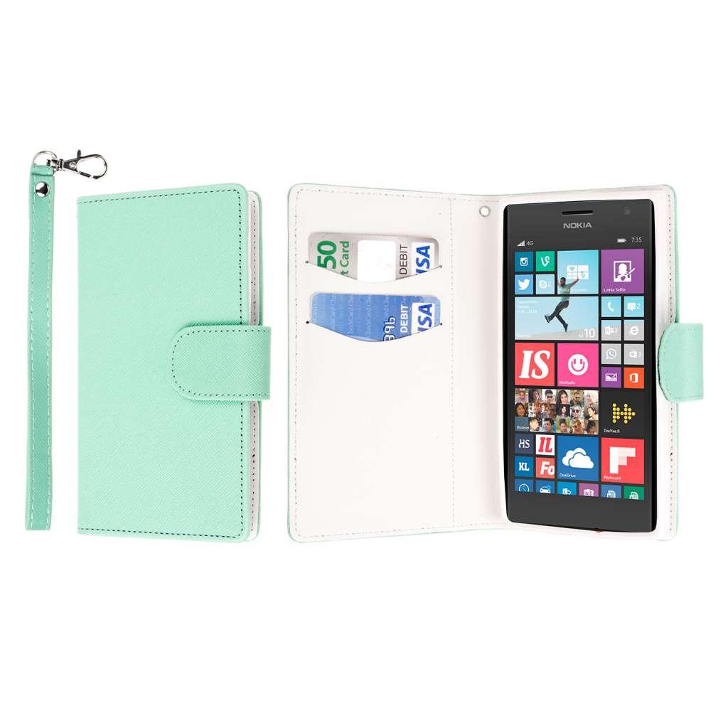 Nokia Lumia 735 - Mint MPERO FLEX FLIP Wallet Case Cover
