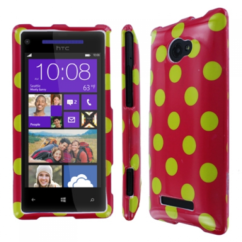 HTC Windows Phone 8X MPERO Full Protection Electric Lemonade Polka Dot Case