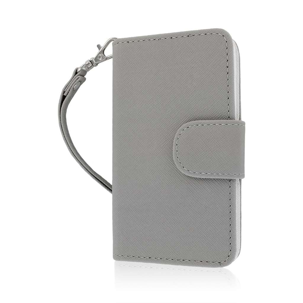 LG Optimus F3 - Gray MPERO FLEX FLIP Wallet Case Cover