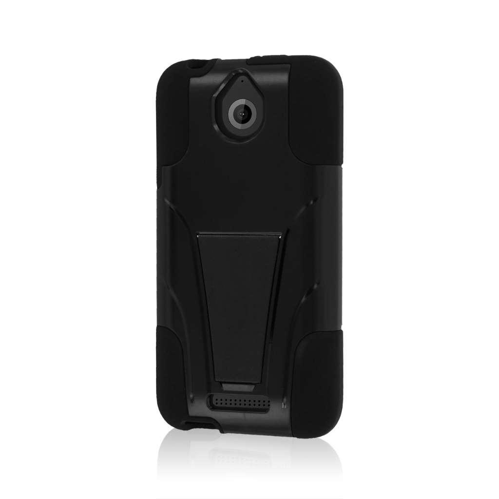 HTC Desire 510 512 - Black MPERO IMPACT X - Kickstand Case Cover
