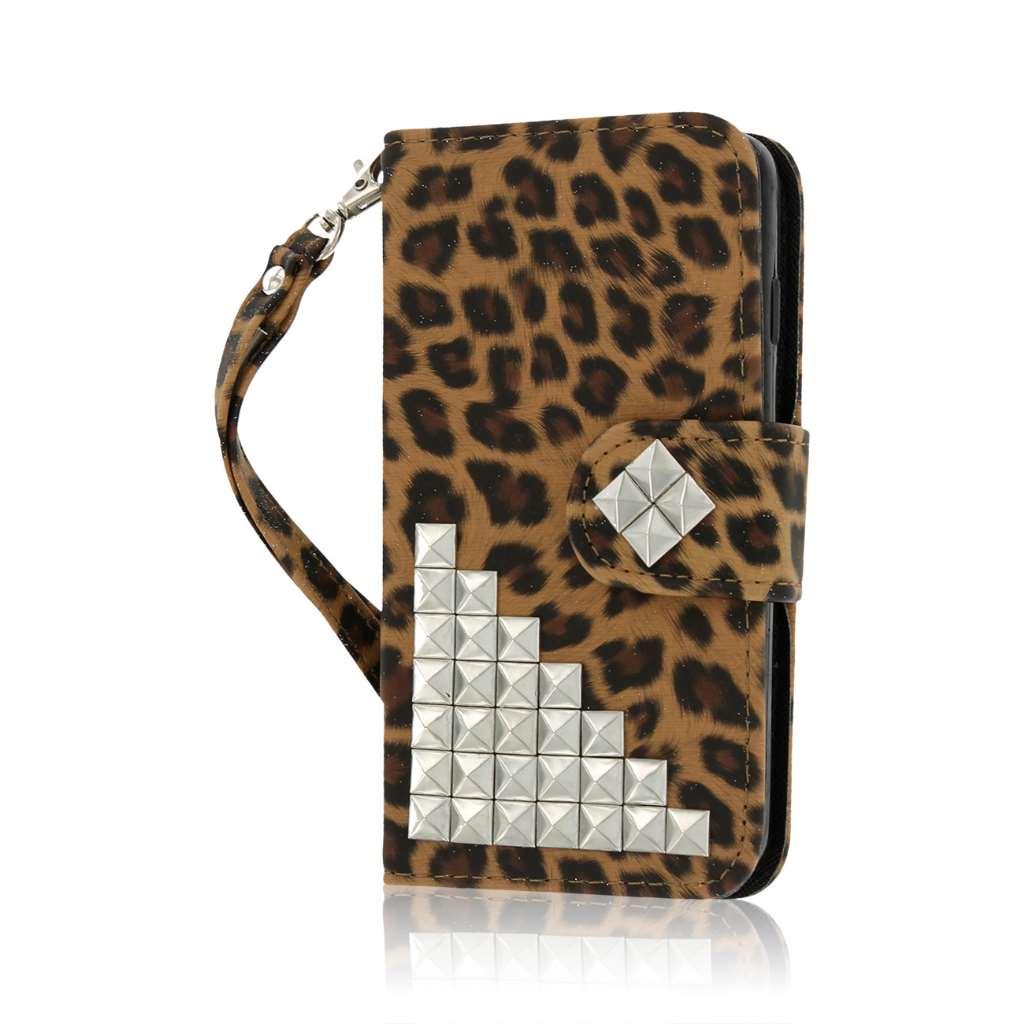 LG Lucid 3 - Studded Leopard MPERO FLEX FLIP Wallet Case Cover