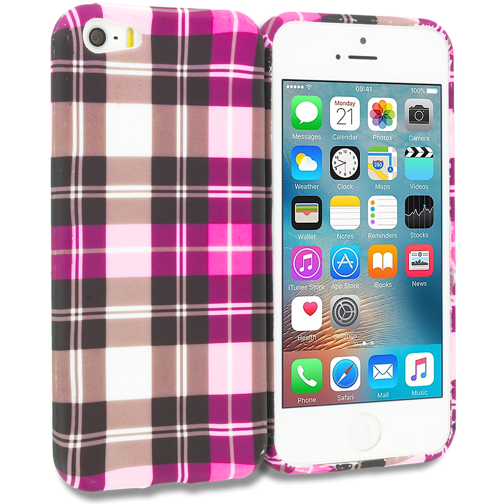 Apple iPhone 5/5S/SE Combo Pack : Blue Checkered TPU Design Soft Rubber Case Cover : Color Hot Pink Checkered