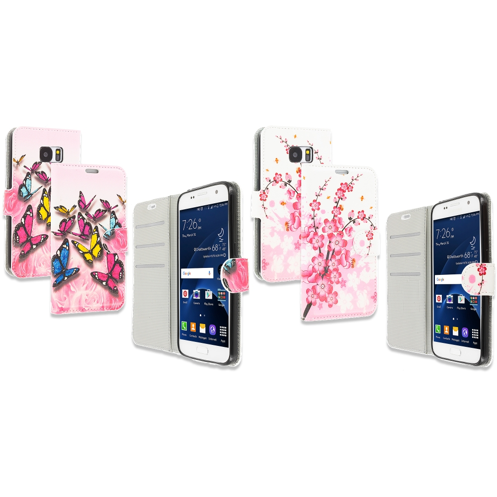 Samsung Galaxy S7 Combo Pack : Pink Colorful Butterfly Design Wallet Flip Pouch Case Cover with Credit Card ID Slots