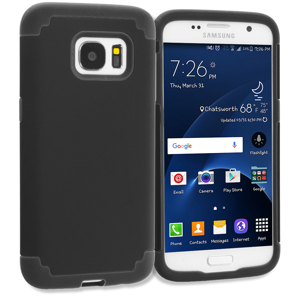 Samsung Galaxy S7 Combo Pack : Black / Black Hybrid Slim Hard Soft Rubber Impact Protector Case Cover : Color Black / Black