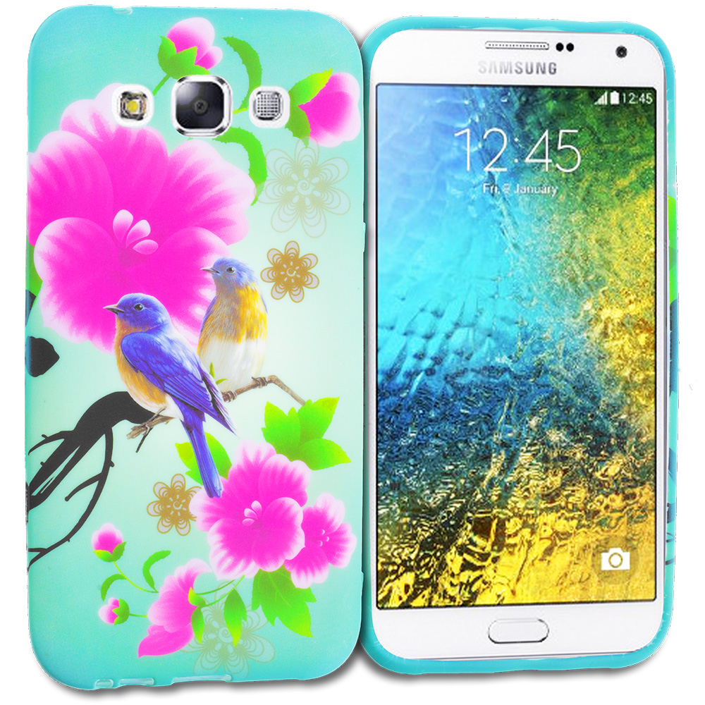 Samsung Galaxy E5 S978L Blue Bird Pink Flower TPU Design Soft Rubber Case Cover