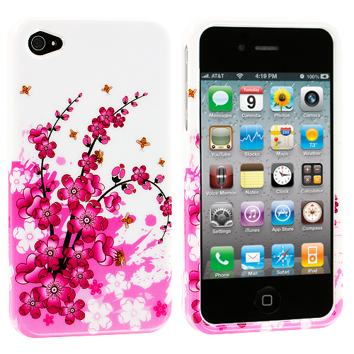 Apple iPhone 4 / 4S 3 in 1 Combo Bundle Pack - Flower Design Crystal Hard Case Cover : Color Spring Flowers