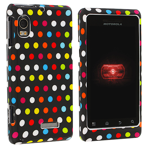 Motorola Droid 2 A955 Colorful dots on Black Hard Rubberized Design Case Cover