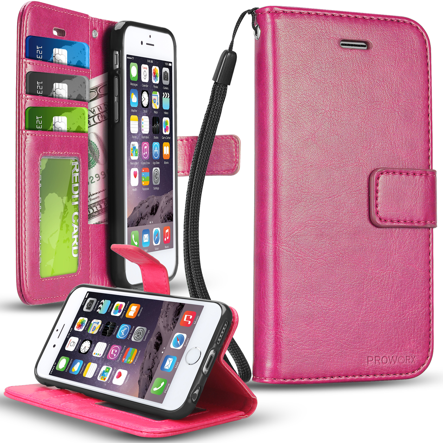 Apple iPhone 6 6S (4.7) Hot Pink ProWorx Wallet Case Luxury PU Leather Case Cover With Card Slots & Stand