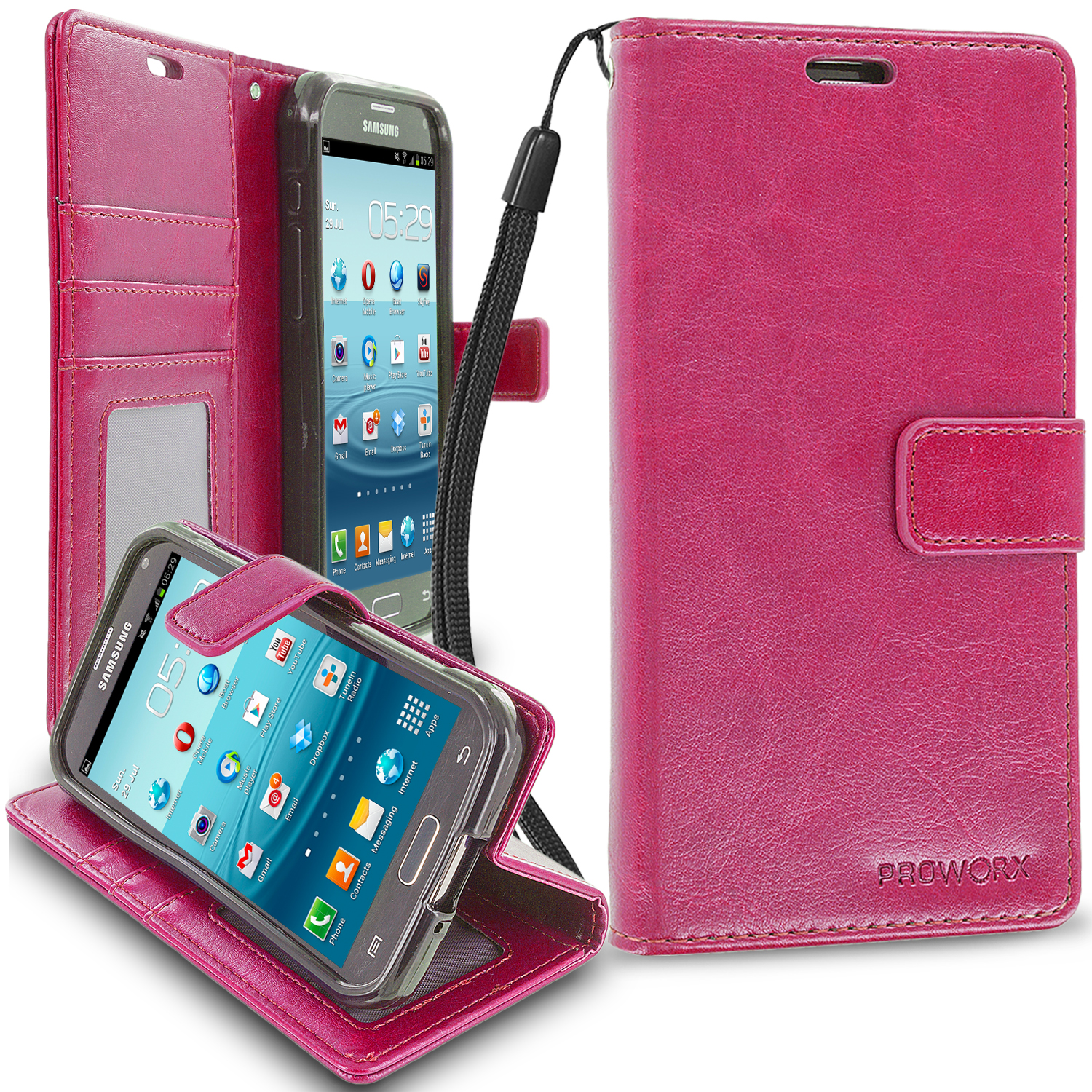 Samsung Galaxy S5 Active Hot Pink ProWorx Wallet Case Luxury PU Leather Case Cover With Card Slots & Stand