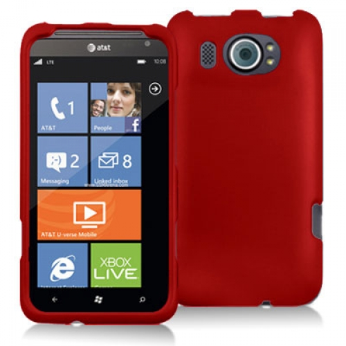 HTC Titan II 2 Red Hard Rubberized Case Cover
