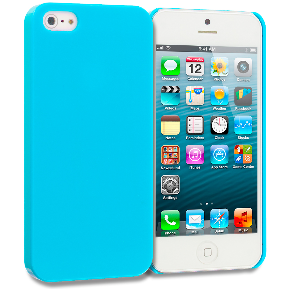 Apple iPhone 5/5S/SE 2 in 1 Combo Bundle Pack - Baby Blue Blue Solid Crystal Hard Back Cover Case : Color Baby Blue Solid