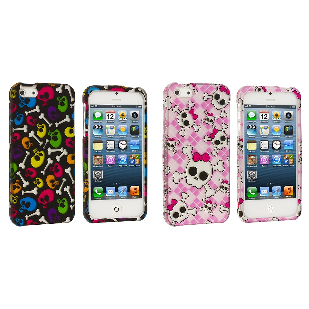 Apple iPhone 5/5S/SE 2 in 1 Combo Bundle Pack - Colorful Skull Pink Hard Rubberized Design Case Cover