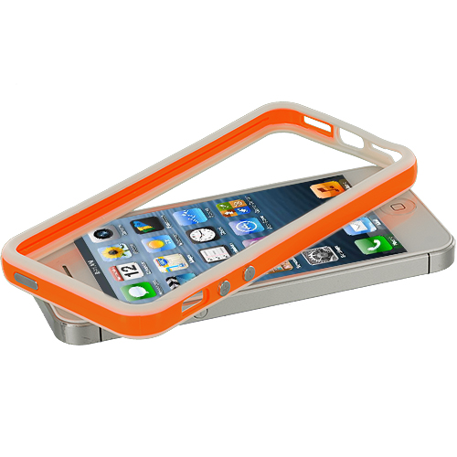 Apple iPhone 5/5S/SE Combo Pack : White / Orange TPU Bumper with Metal Buttons : Color White / Orange