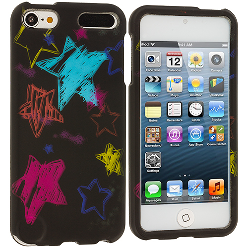 Apple iPod Touch 5th 6th Generation ChalkBoard Stars Hard Rubberized Design Case Cover