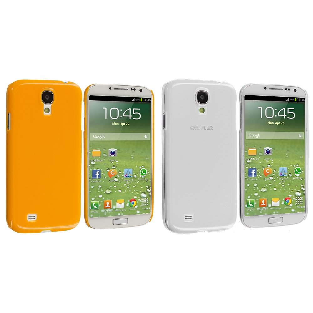Samsung Galaxy S4 2 in 1 Combo Bundle Pack - Clear Orange Crystal Hard Back Cover Case