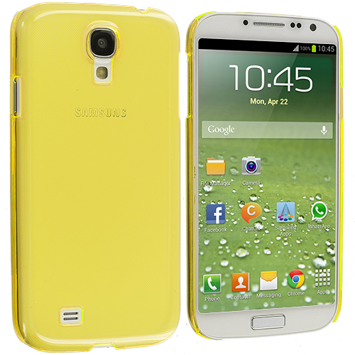Samsung Galaxy S4 2 in 1 Combo Bundle Pack - Clear Crystal Hard Back Cover Case : Color Yellow