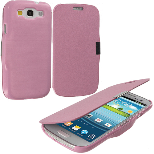 Samsung Galaxy S3 Light Pink Texture Magnetic Wallet Case Cover Pouch
