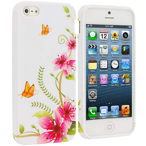 Apple iPhone 5/5S/SE Corner Pink Flower TPU Design Soft Case Cover