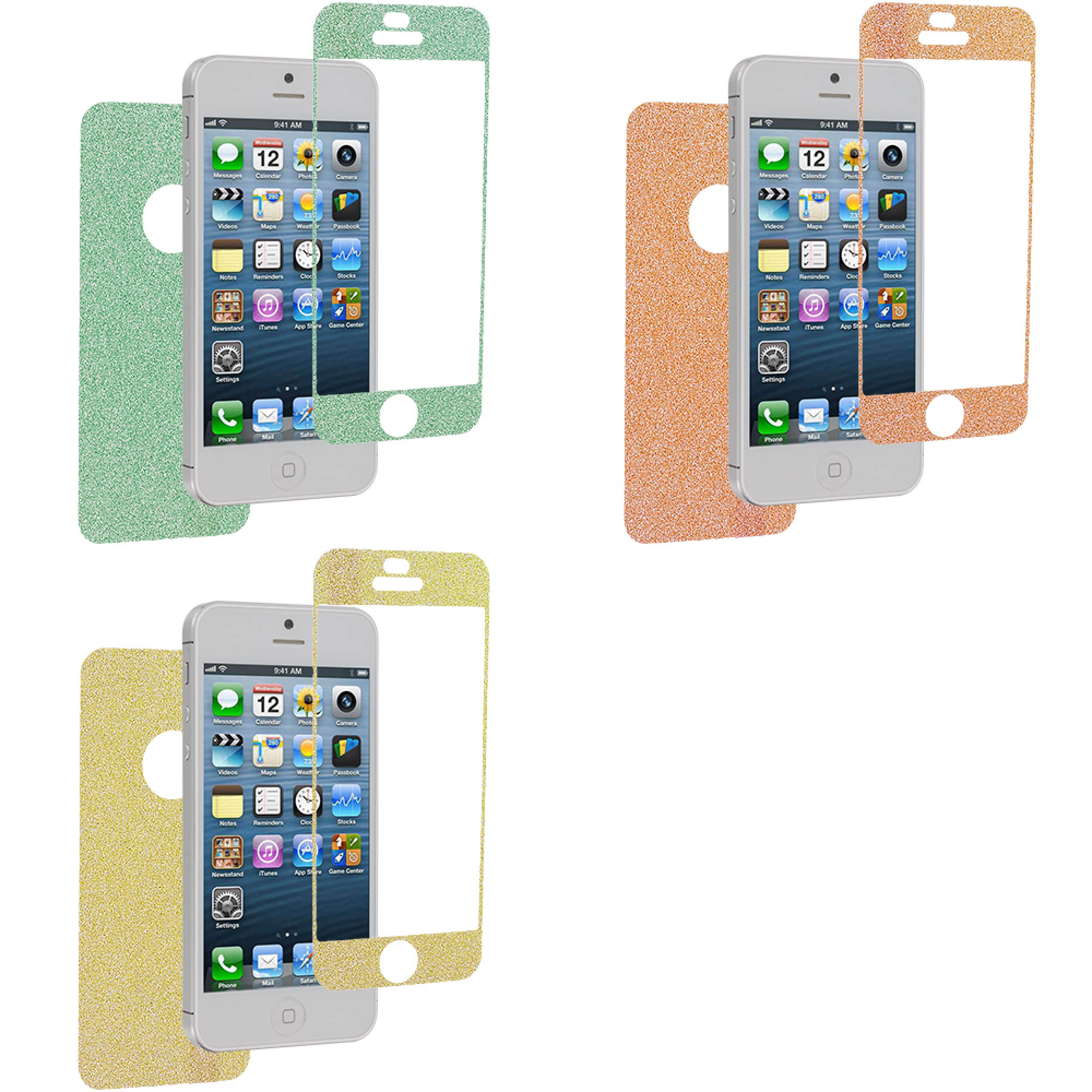 Apple iPhone 5 / 5S Combo Pack : Neon Green Glittter LCD Screen Protector