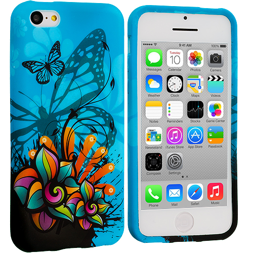 Apple iPhone 5C Blue Butterfly Flower TPU Design Soft Case Cover