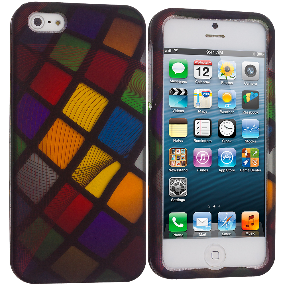 Apple iPhone 5/5S/SE Combo Pack : Color Ball Hard Rubberized Design Case Cover : Color Color Ball