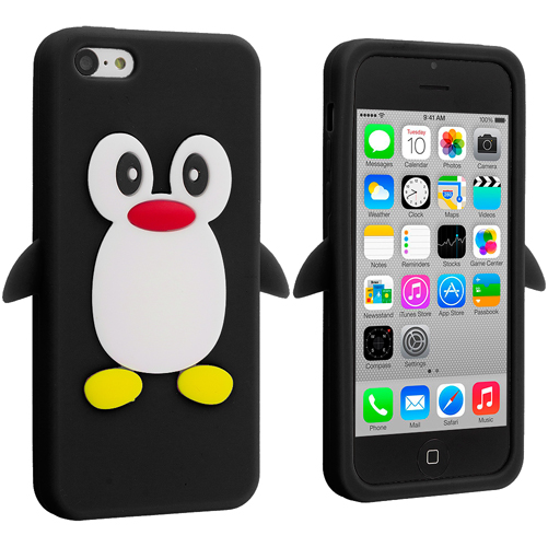 Apple iPhone 5C 2 in 1 Combo Bundle Pack - Black Orange Penguin Silicone Design Soft Skin Case Cover : Color Black Penguin