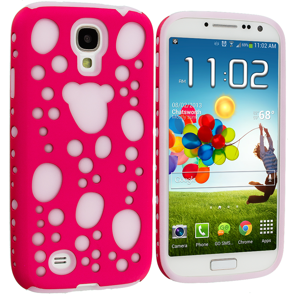 Samsung Galaxy S4 Pink Hybrid Bubble Hard/Soft Skin Case Cover