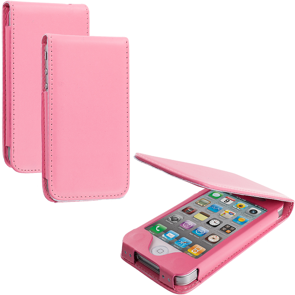 Apple iPhone 4 / 4S Pink (No CutOut) Wallet Flip Pouch Folio Case Cover